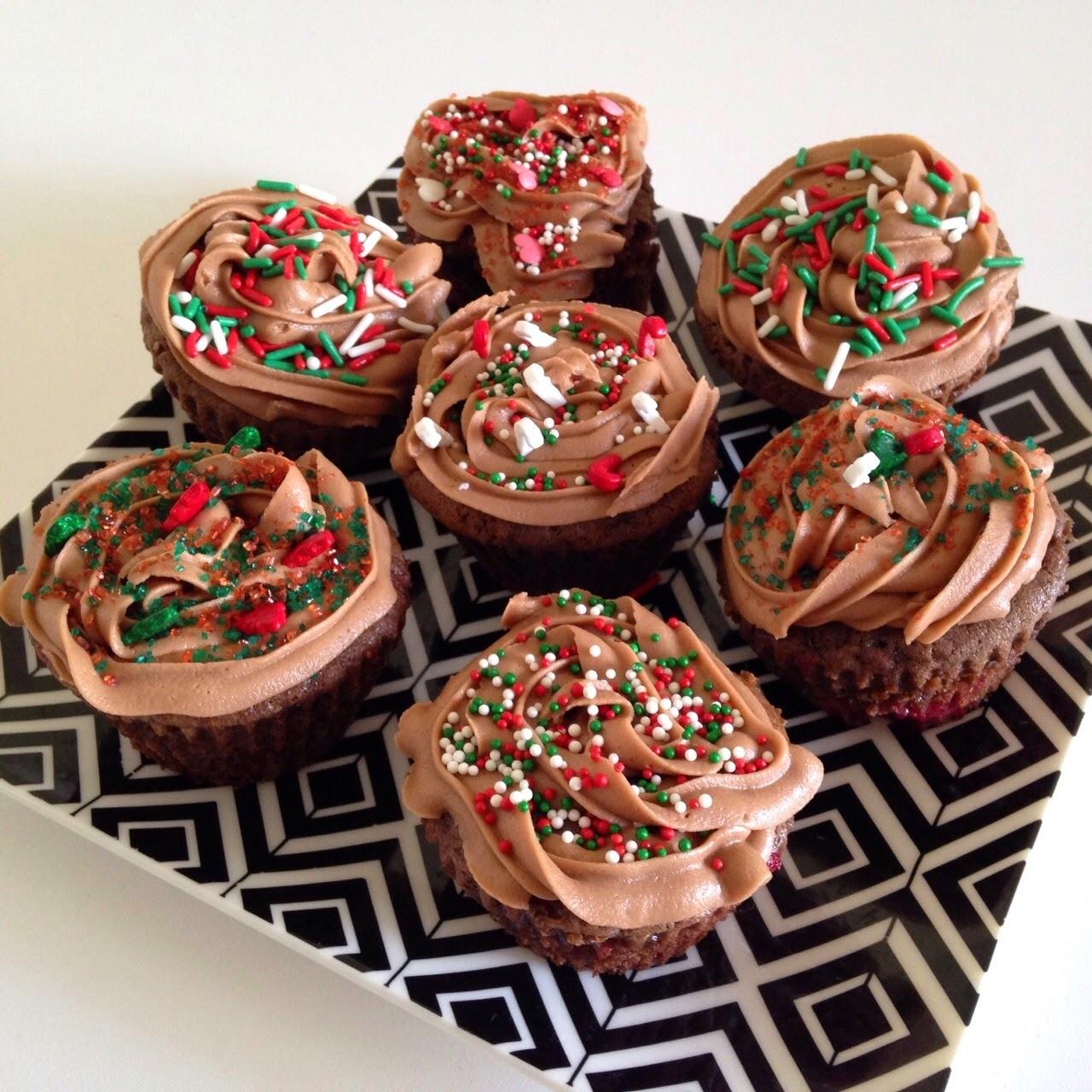 Cupcake Navideño: chocolate y frambuesa!
