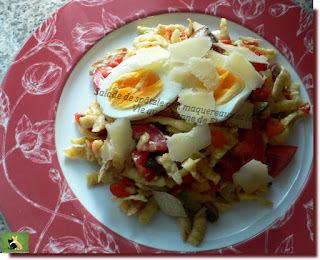 Salade de spätzle aux maquereaux et légumes
