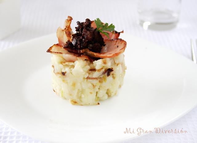 Trinxat de coliflor con bacon y butifarra negra