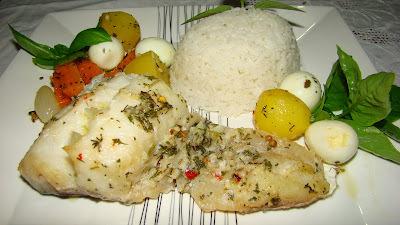 Bacalhau e Legumes no Vapor Com Ervas Finas