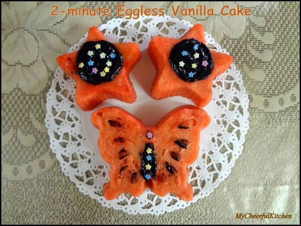 2-minute Eggless vanilla cake