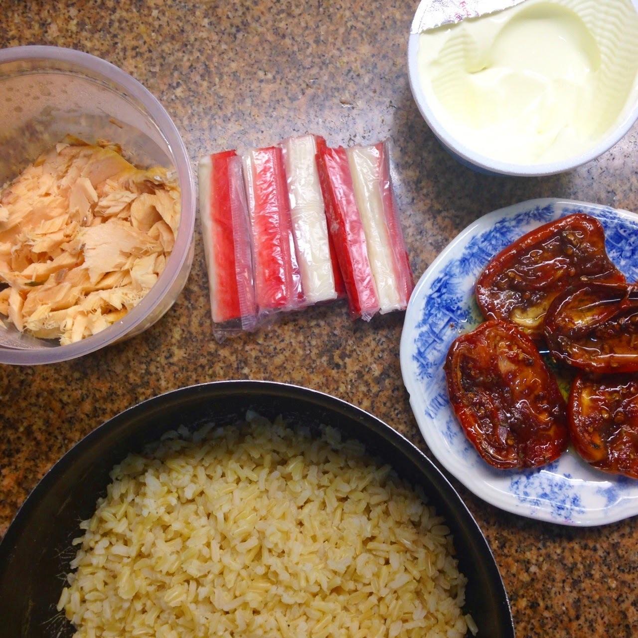 Risoto integral de salmão e kani