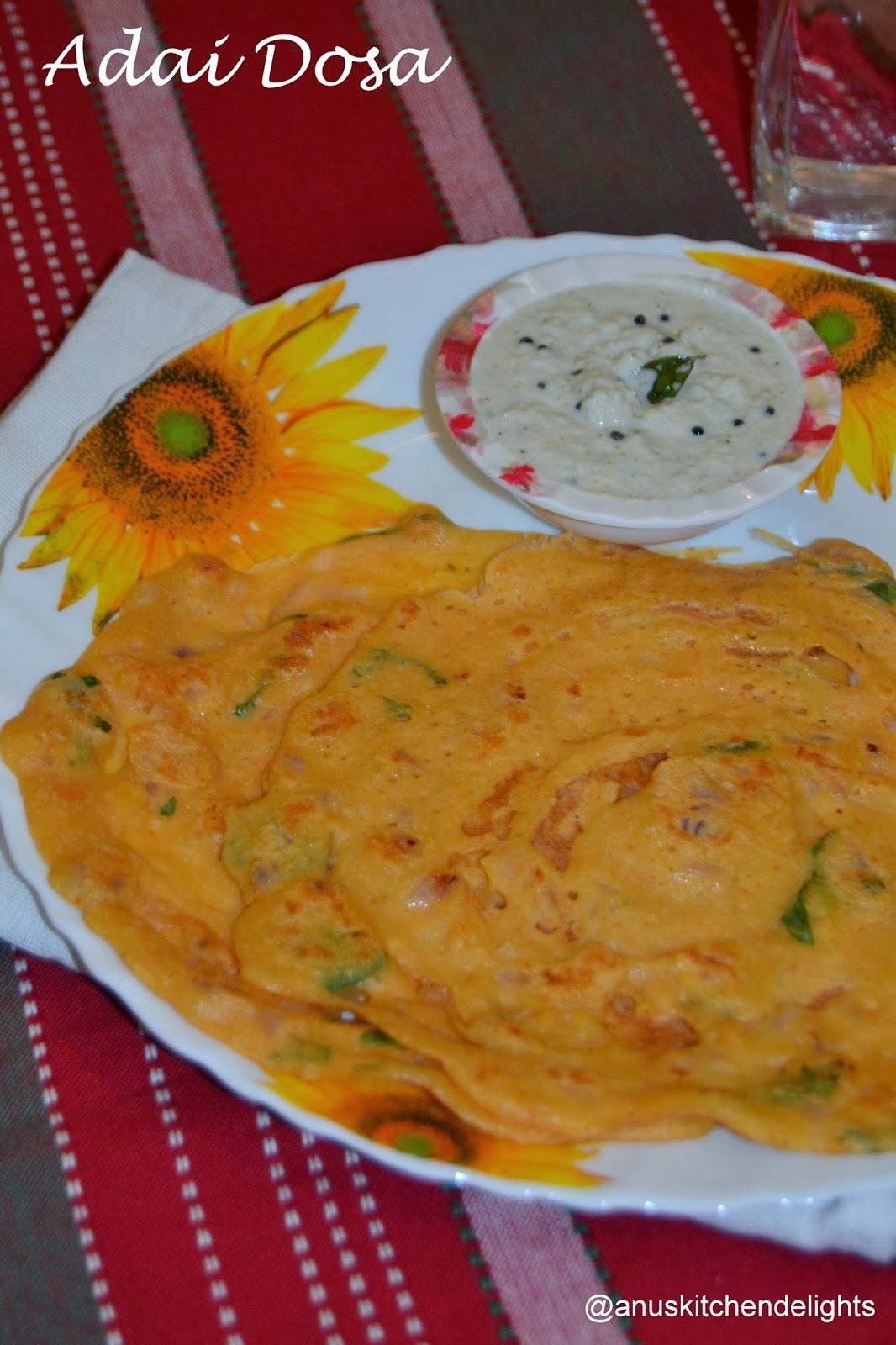 Adai Dosa - Mixed Lentil pancakes