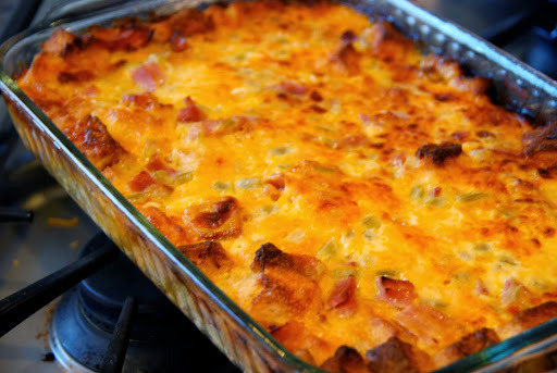 Breakfast Strata with ham, cheddar and more cheddar