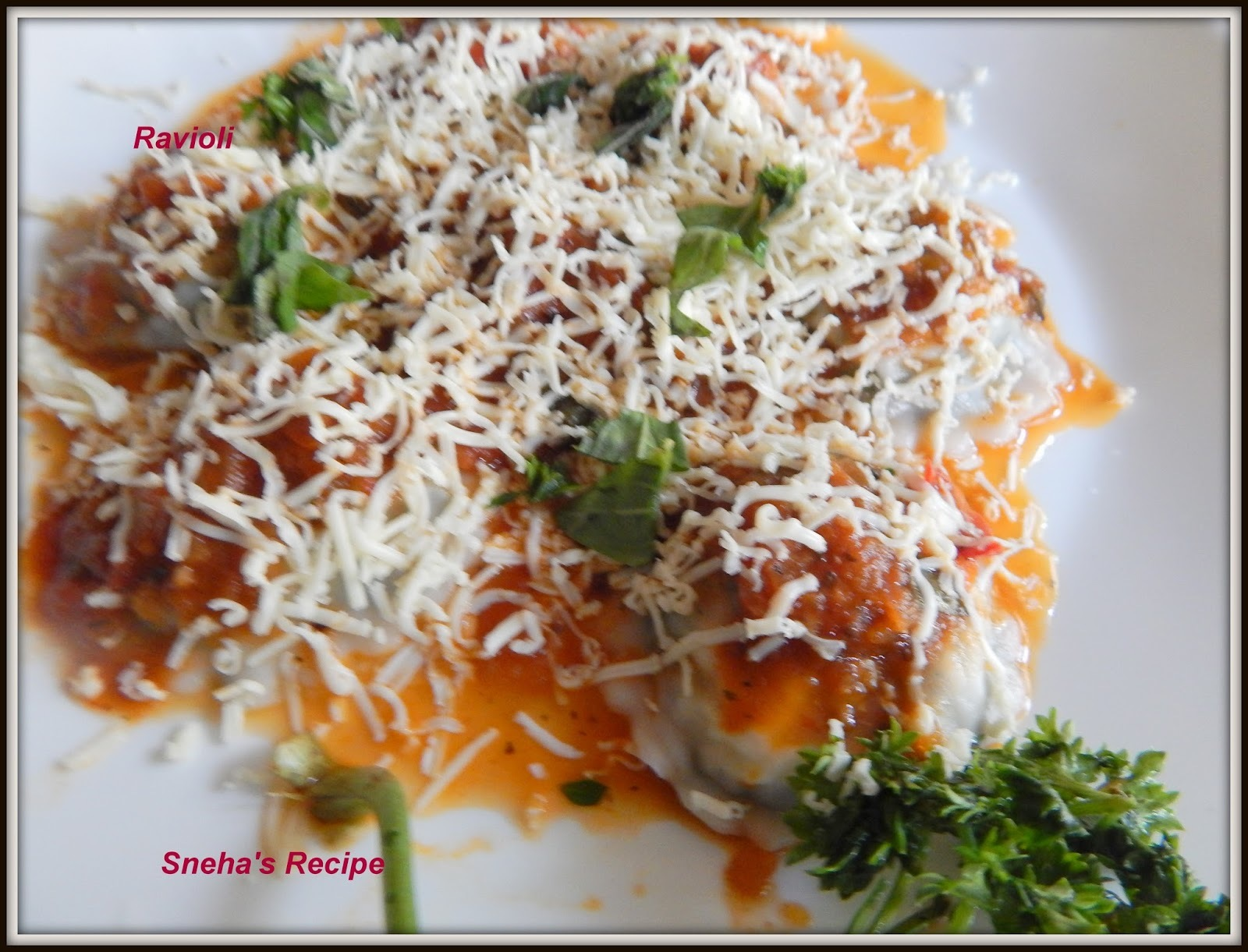Homemade Ravioli - Stuffed with Spinach and Cottage Cheese in Roasted Tomato Sauce