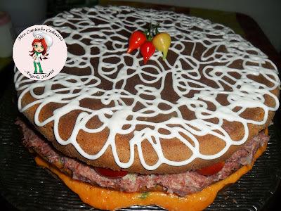 Naked cake salgado  c/ recheio de carne seca PAINEIRA e creme de abóbora