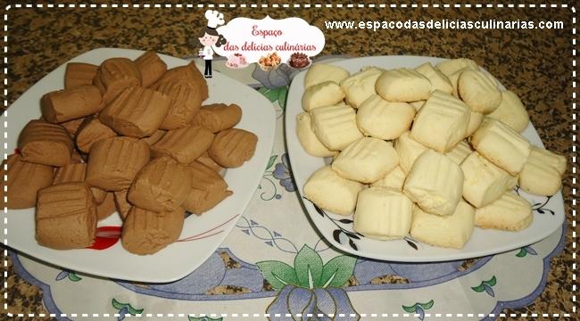 Sequilhos de amido de milho, simples e de chocolate