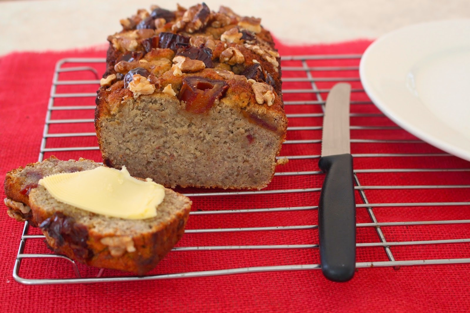 Coconut Flour Banana Bread with Dates & Walnuts