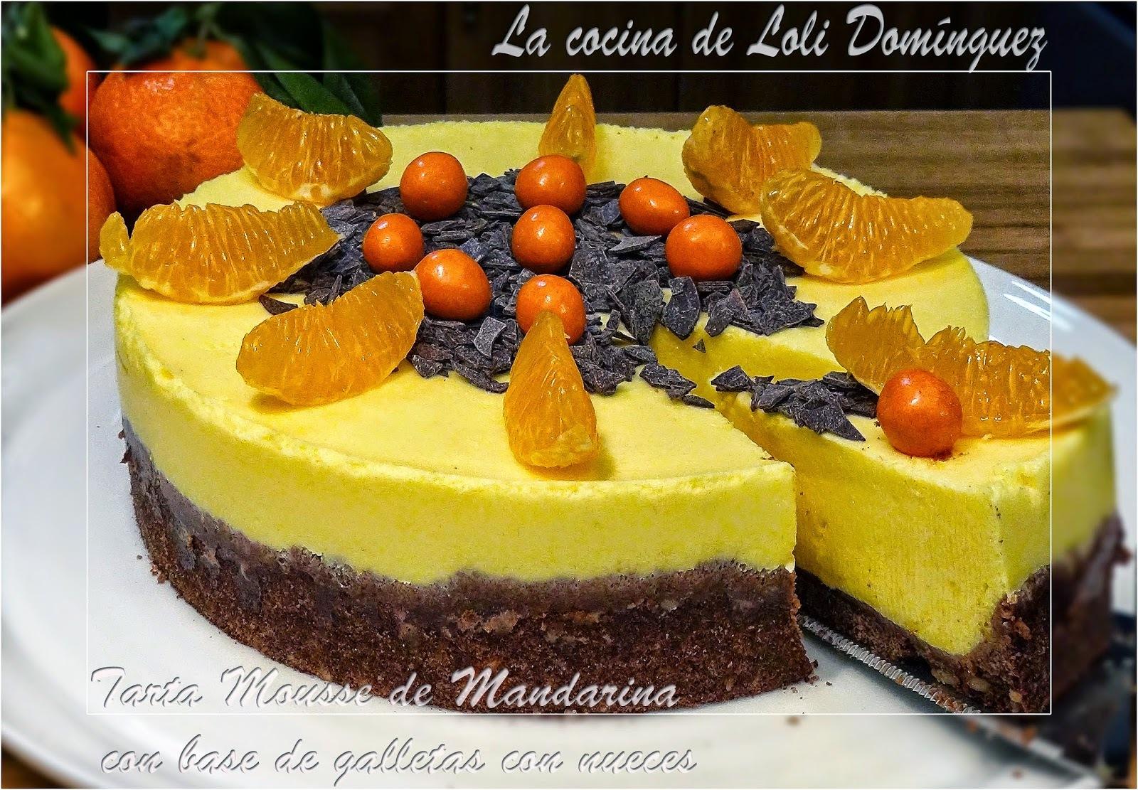 Tarta Mousse de Mandarina con base de galletas con nueces