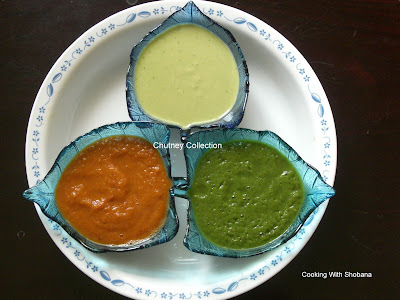 COCONUT & DAL; TOMATO; AND MINT CHUTNEYS