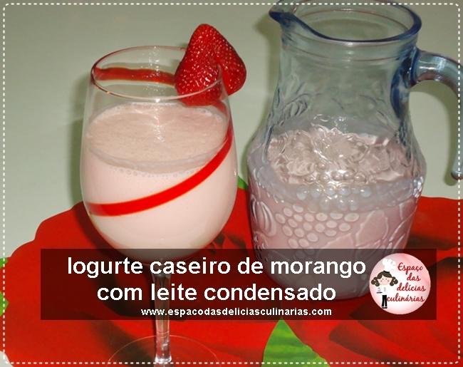 Iogurte caseiro refrescante sabor morango com leite condensado