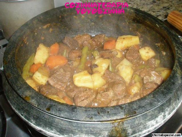 Carne de panela com legumes+canela