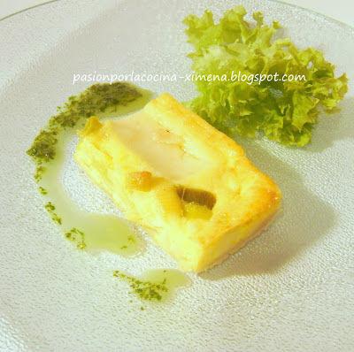 Tarta de queso de cabra y puerros