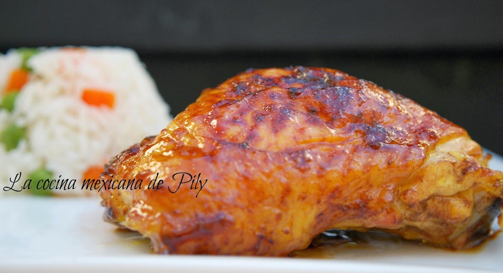Pollo al chabacano con chile habanero
