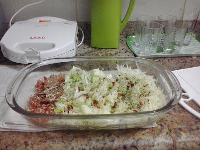 Salada de alho poró com melão