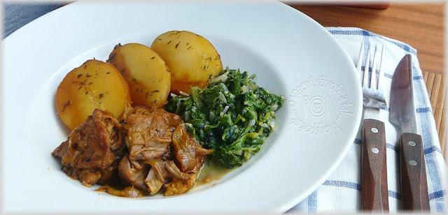Čo som dnes varila: Bravčové pečené s mangoldom a novými zemiakmi
