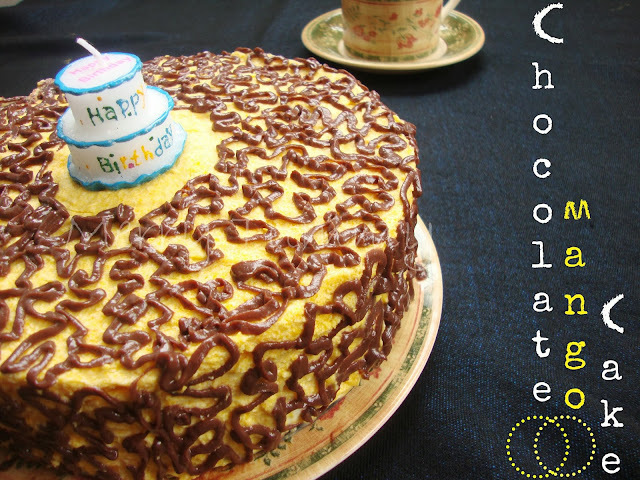 Chocolate Cake Topped With Mango Mousse