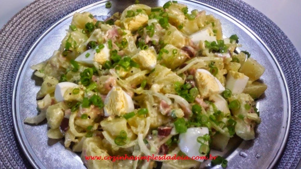 Salada de Batata com presunto e azeitonas