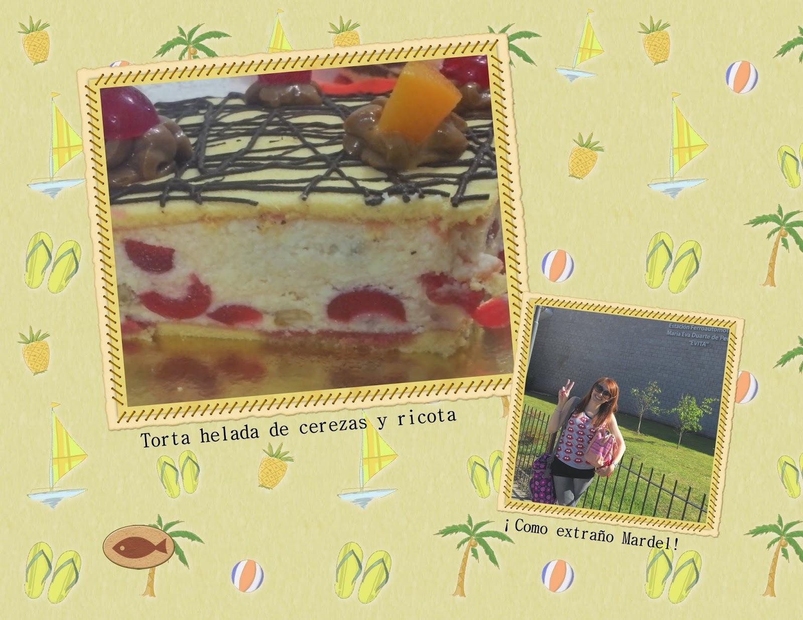 Torta helada de cerezas y ricota