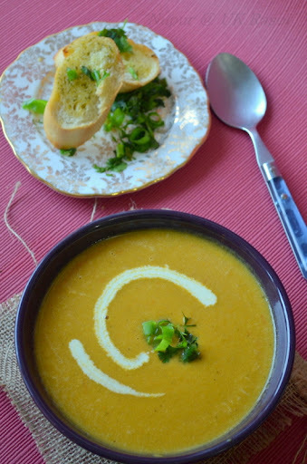 Roasted Eggplant Soup with Indian spices - The best Aubergine soup I have had