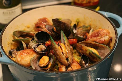 My NZ version of Paella: A seafood and meat one-pot dish