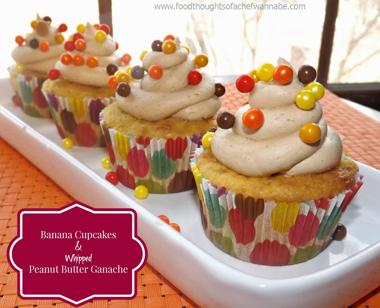 Banana Cupcakes with Whipped Peanut Butter Ganache