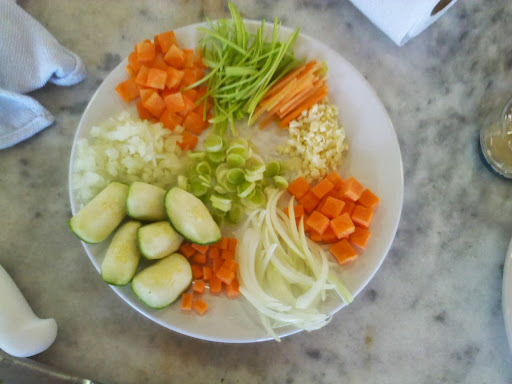 Diferentes cortes em vegetais