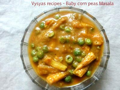 Baby Corn Gravy - baby Corn Peas Masala - Baby Corn Mutter Masala