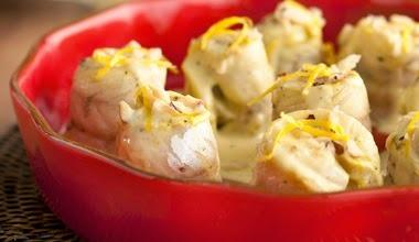 Rolinhos de Peixe com Molho de Limão-Siciliano e Castanhas