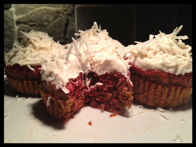 Sinless & Sweet Red Velvet Coconut Cupcakes with Cashew Icing