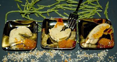 Cuillères de foie gras de la mer.