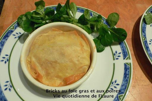 Bricks au foie gras et aux poires