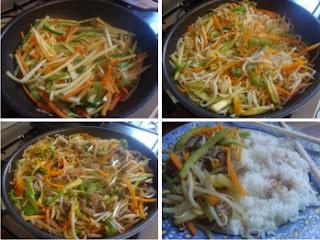 Wok de Verduras y Ternera con Arroz al Vapor
