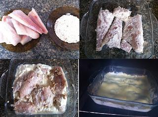 de file de peixe assado com presunto e mussarela