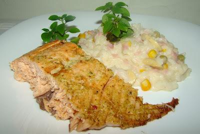 risoto para acompanhar salmão