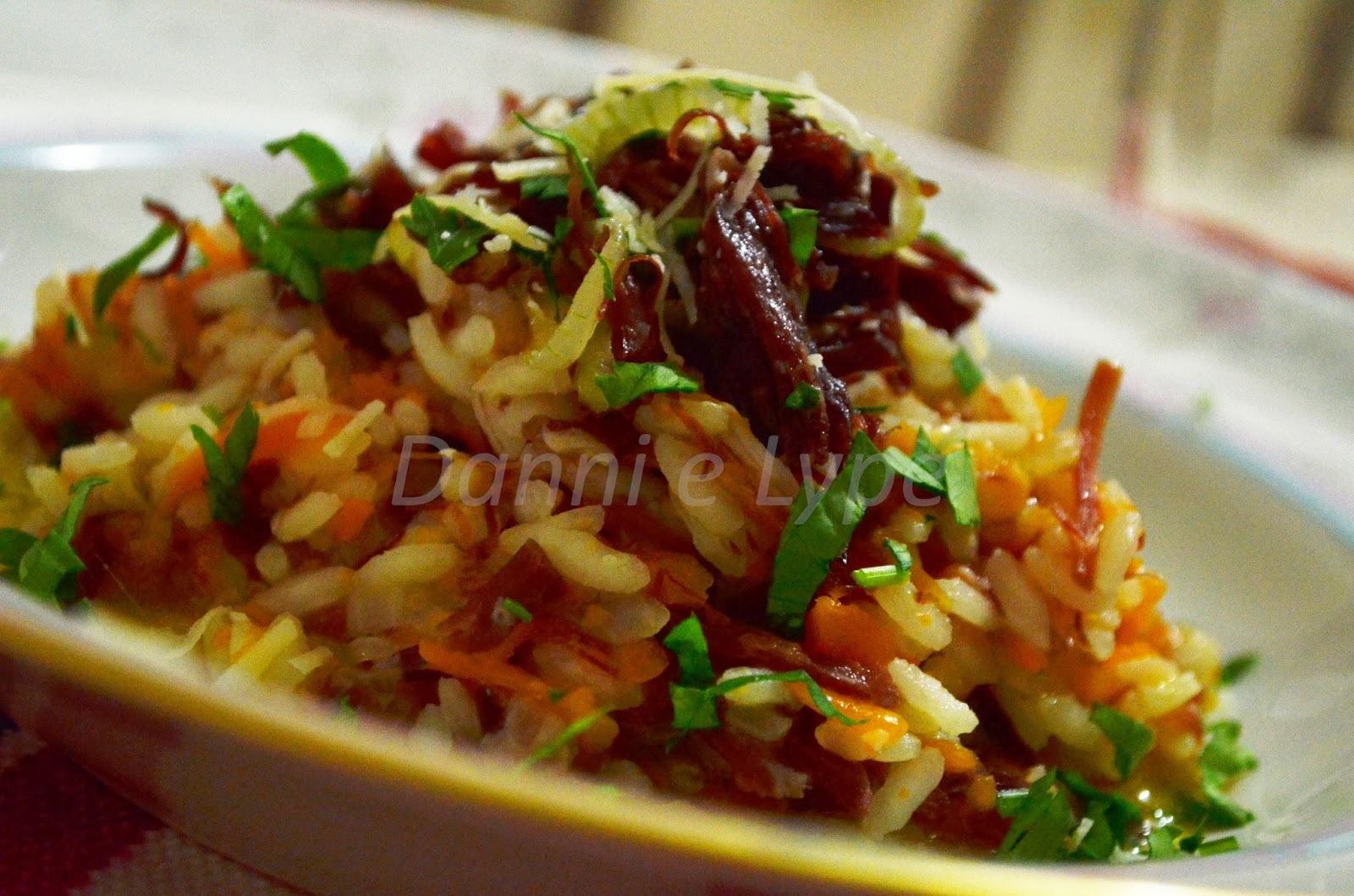 de risoto de carne seca com abóbora