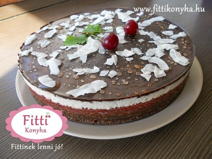Meggyes-kókuszos-csokis torta (sütés nélkül)