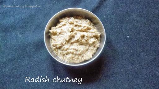 Radish Chutney/ Dip  |  Side Dish for Idli / Dosa
