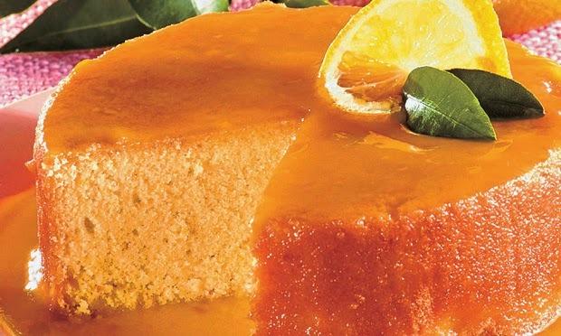 bolo de laranja bem molhado e com calda