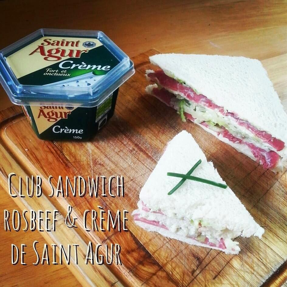 Club sandwich rosbeef  &  crème de Saint Agur