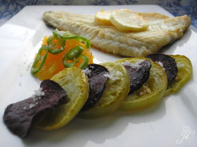 Brancin s grilanim povrćem i narančom