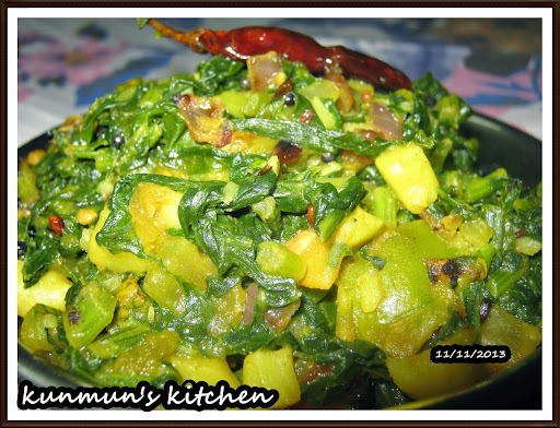MULA SAGA (RADISH LEAF WITH PEANUT PASTE) (ODISHA RECIPE)
