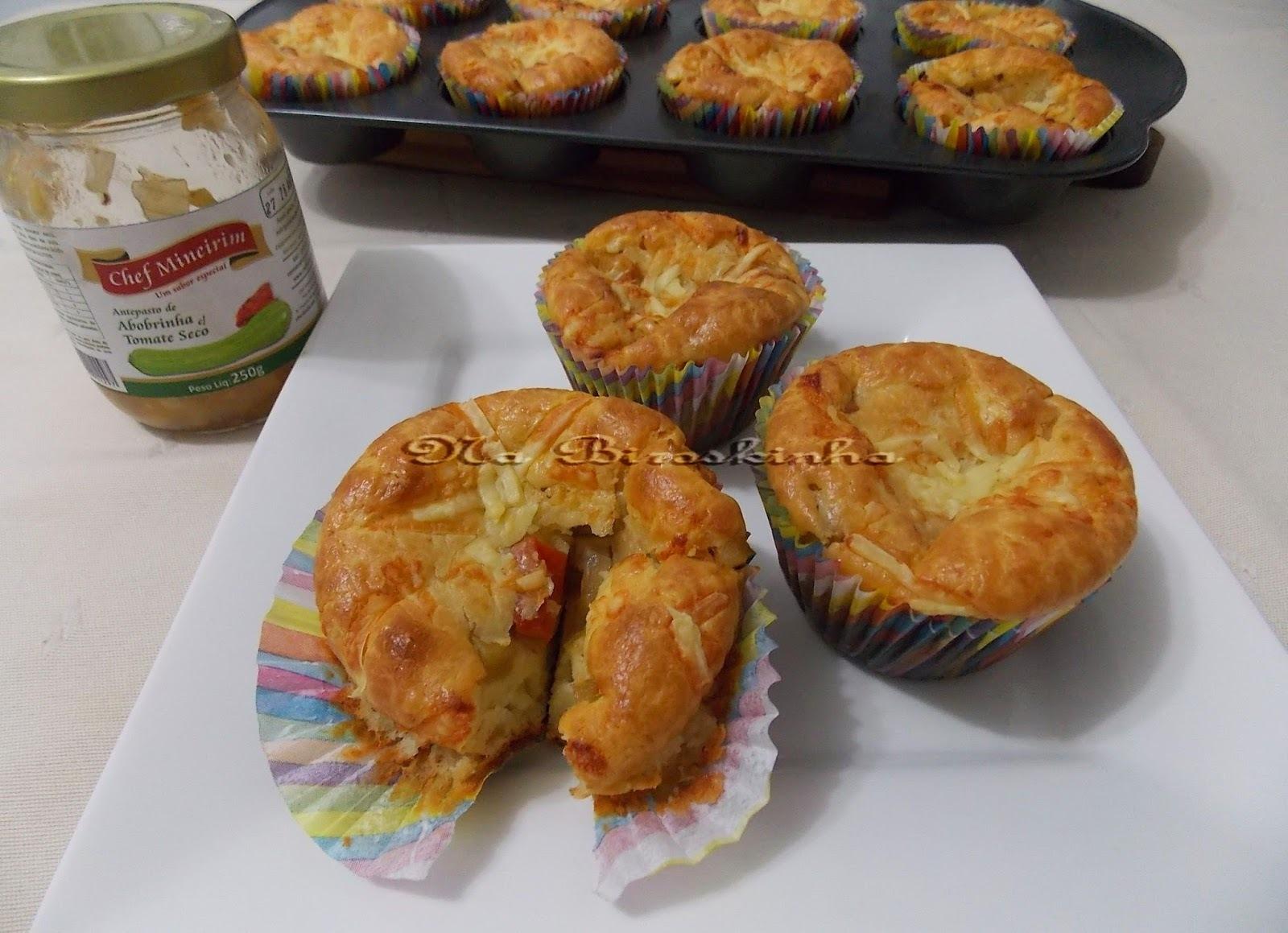 Cupcake Recheado com Antepasto de Abobrinha e Tomate Seco