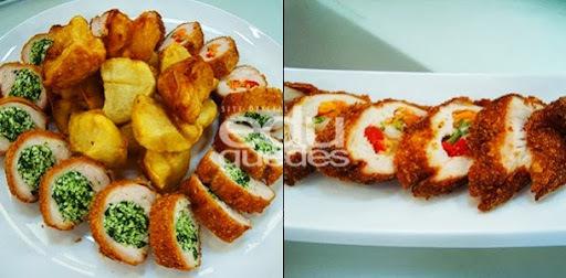 Rolê de frango à milanesa com batata rústica