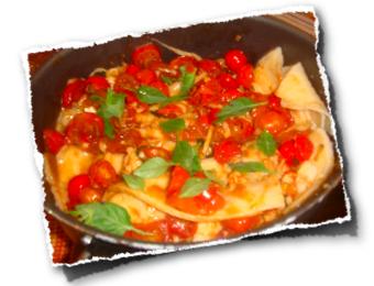 Massa Fresca de lasanha com molho de tomate-cereja