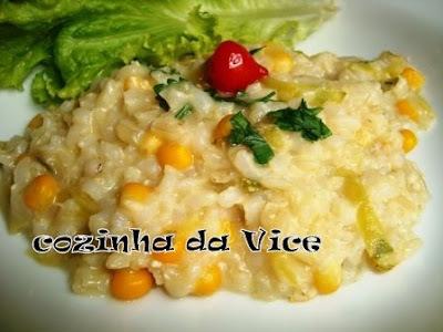 Risoto de arroz integral e abobrinha