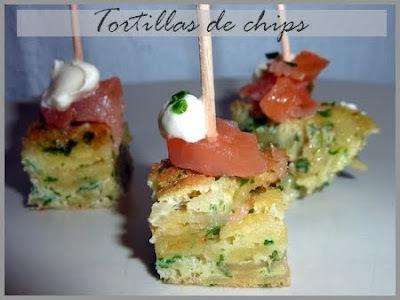 Tortillas de chips au saumon fumé et à la créme de ciboulette