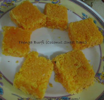 Thenga Burfi (Coconut Sweet Bars) my 150th post with Awards Shower!!!