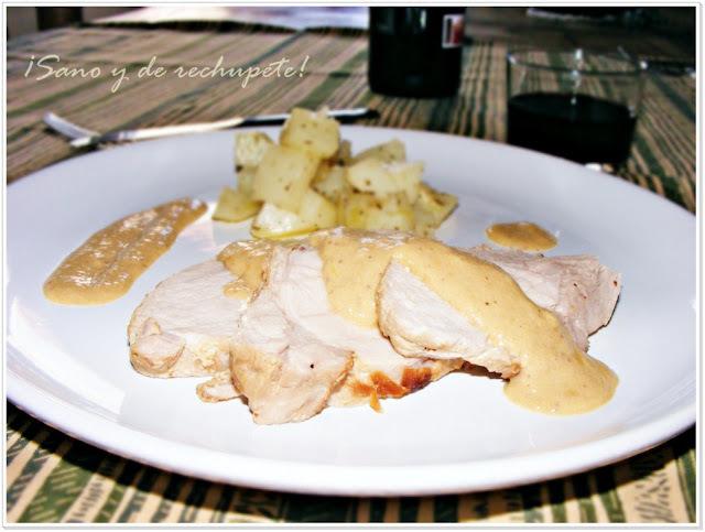 Medallones de lomo de cerdo con crema de mostaza bávara