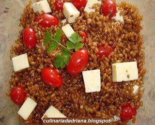 Salada Caprese com trigo